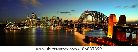 Sydney Harbour night time Panorama viewed from Kirribilli in North Sydney - stock photo