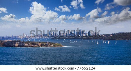 Sydney Harbour ocean water wide panoramic view on the CBD city from North Head entrance to harbor - stock photo