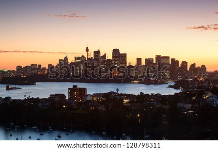 Sydney harbour panorama taken from a unique location in Mosman not available to everyone - stock photo