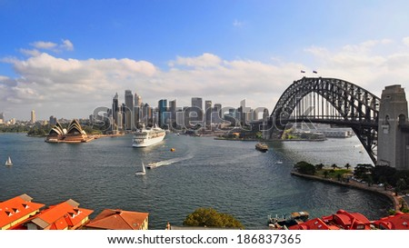 Sydney Harbour Panorama viewed from Kirribilli in North Sydney - stock photo