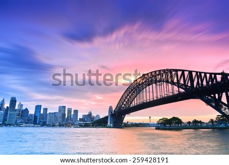Sydney Harbour Panorama viewed from Kirribilli in North Sydney at dusk - stock photo