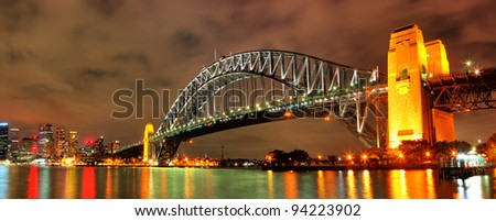 Sydney Harbour with Opera House and Bridge - stock photo