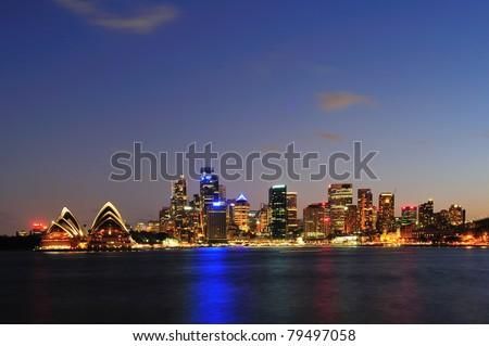 Sydney in twilight - stock photo