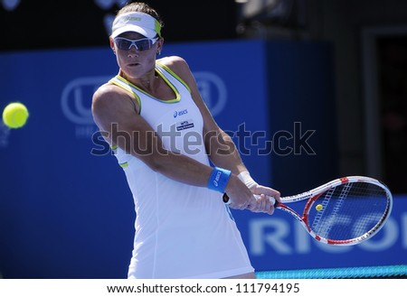 SYDNEY - JAN 9: Sam Stosur in action at the APIA Tennis International. Sydney - January 9, 2012