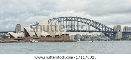 SYDNEY - JANUARY 12: Sydney Opera House view on January 12, 2014 in Sydney, Australia. The Sydney Opera House is a famous arts center. It was designed by Danish architect Jorn Utzon.  - stock photo