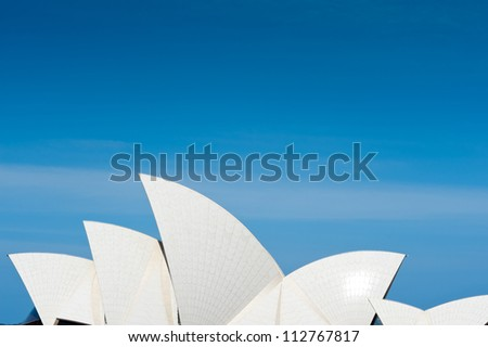 SYDNEY - JANUARY 8: The Iconic Sails of the Sydney Opera House are made up of over one million white, self cleaning tiles. January 8, 2012 in Sydney, Australia.