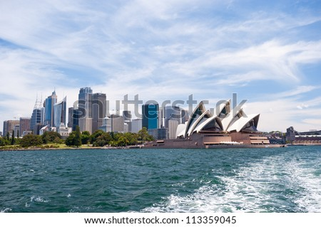 SYDNEY - JANUARY 13: The Iconic Sydney Opera House is a multi-venue performing arts centre also containing bars and outdoor restaurants.January 13, 2012 in Sydney, Australia. - stock photo
