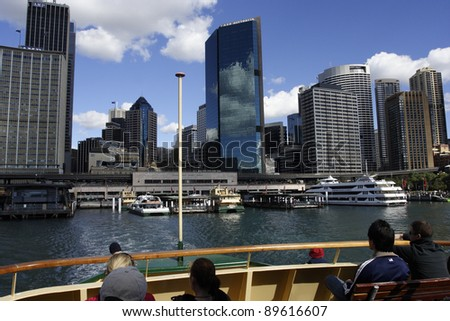 SYDNEY - JANUARY 04: View from a ferry entering Circular Quay on January 04, 2011 in Sydney, Australia. Each year 172,000 ferry services are scheduled, carrying more than 14 million customers.