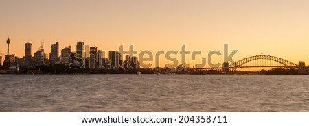 SYDNEY - july 11 : Sydney City , Panoramic viewed from Bradley Head in Sydney, Australia on July 11, 2014 Sydney is the state capital of New South Wales and the most populous city in Australia - stock photo
