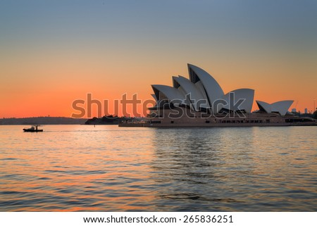 SYDNEY - March 13: The Iconic Sydney Opera House is a multi-venue performing arts centre also containing bars and outdoor restaurants. March 13, 2015 in Sydney, Australia. - stock photo