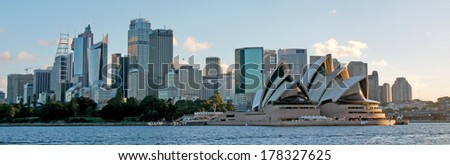 SYDNEY - MARCH 12: The Sydney Opera House, viewed from Circular Quay in Sydney, Australia on MARCH 12, 2013. It was designed by Danish architect Jorn Utzon. - stock photo