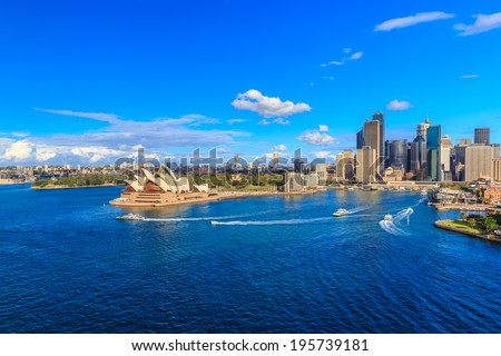 SYDNEY - MAY 11: City scape of Sydney on May 11, 2014 in Sydney. It is the state capital of New South Wales and the most populous city in Australia. - stock photo