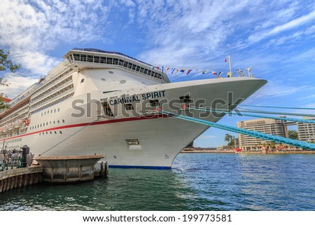 SYDNEY - MAY 10: Cruise ship at Sydney harbour on May 10, 14 in Sydney. Sydney harbour is the maritime hub for the city of Sydney, Nova Scotia. Located on the South Arm.