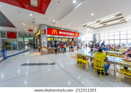 SYDNEY - MAY 15: McDonald's Restaurant at Bondi Junction Station on May 15, 14 in Bondi, Sydney. The station located underground with a bus terminal and shopping centre above. - stock photo