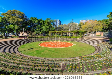 SYDNEY - MAY 10: Sandringham Gardens at Hyde Park on May 10, 2014 in Sydney.  Hyde Park is a 16.2-hectare park in the central business district of Sydney which is the oldest park in Australia. - stock photo