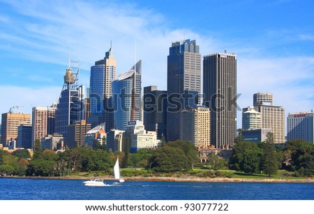 SYDNEY - MAY 7: Sydney CBD view on May 7, 2011 in Sydney. The Sydney central business district is the main commercial centre of Sydney, New South Wales, Australia. - stock photo
