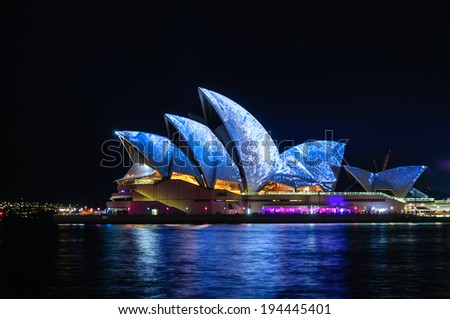 SYDNEY - MAY 23 Sydney Opera House shown during Vivid Sydney: A Festival of Light, Music & Ideas on May 23, 2014 in Sydney, Australia.