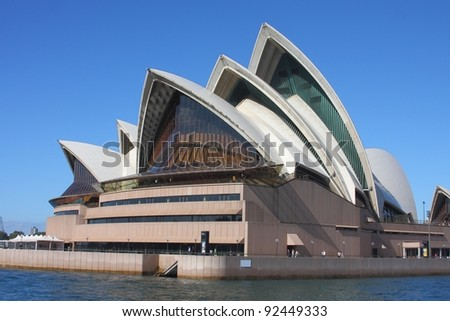 SYDNEY - MAY 7: Sydney Opera House view on May 7, 2011 in Sydney. Opera House is one of the most distinctive buildings and one of the most famous performing arts centres in the world. - stock photo