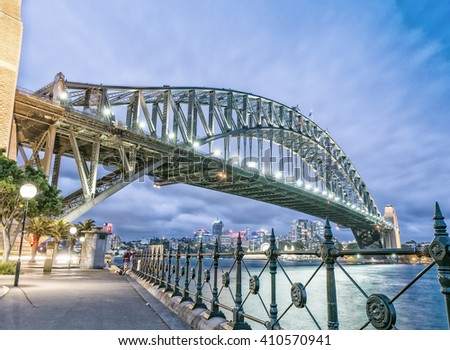 Sydney, New South Wales. Amazing sunset view of Harbour Bridge. - stock photo