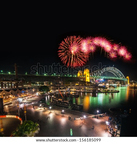 Sydney New Years Eve Fireworks - stock photo
