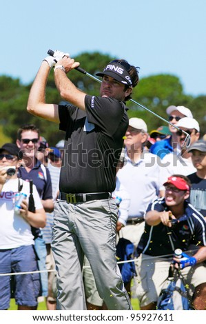 SYDNEY - NOV 12: American Bubba Watson plays an iron shot at the Emirates Australian Golf Open in Sydney, Australia on November 12, 2011