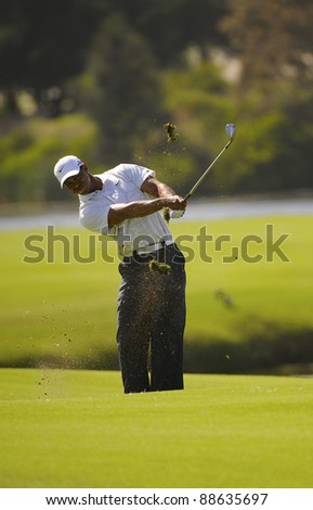SYDNEY - NOV 11: American golfer Tiger Woods plays a fiarway shot on the 14th at the Emirates Australian Open at The Lakes golf course. Sydney, November 11, 2011 - stock photo