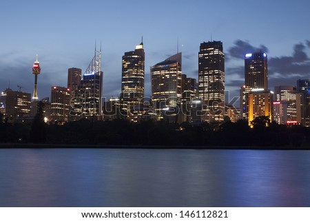 SYDNEY - NOV 22: Sydney CBD view at night on November 22,2011 in Sydney. The Sydney central business district is the main commercial centre of Sydney, New South Wales, Australia.