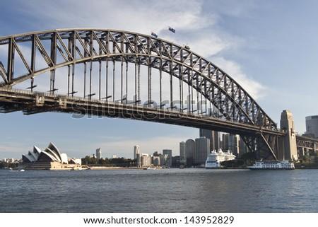 SYDNEY - NOV 26: Sydney Harbour Bridge in Sydney, Australia on November 26,2011. The Harbour Bridge is the world's widest long-span bridge.  - stock photo