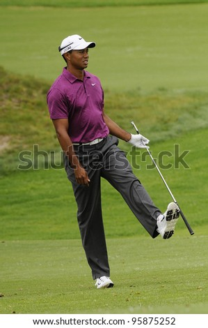SYDNEY - NOV 10: Tiger Woods at the Emirates Australian Golf Open. Sydney - November 10, 2011 - stock photo