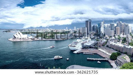 SYDNEY - NOVEMBER 6, 2015: Aerial view of Sydney Harbour. Sydney attracts more than 15 million tourists annually. - stock photo