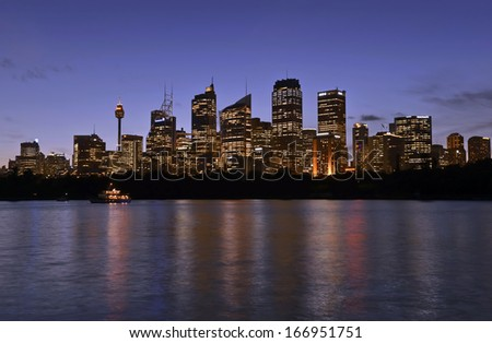SYDNEY - NOVEMBER 2013. Australian residential property markets continue their strength across most capital cities. Sydney, pictured, epitomizes a vibrant city with busy nightlife. Sydney Australia.