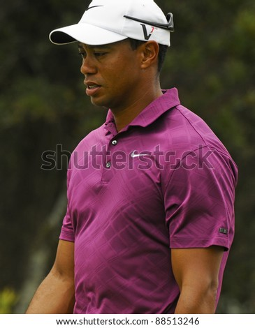 SYDNEY - NOVEMBER 10: Tiger Woods in the first round in the Australian Open at The Lakes golf course on November 10, 2011 in Sydney, Australia. - stock photo