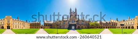 SYDNEY, NSW, AUSTRALIA - December 26, 2014: Historic Quadrant Building at Sydney University, Australia. - stock photo