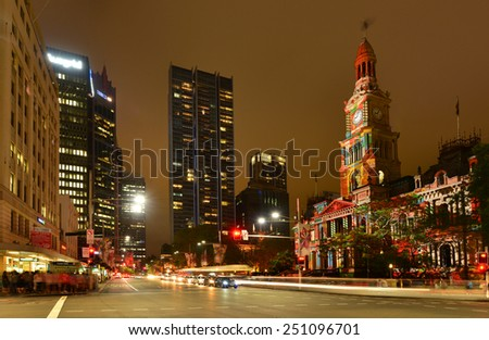 Sydney, NSW/Australia-December 23: Town hall of Sydney city with light effect on Christmas on  December 23,2013 - stock photo