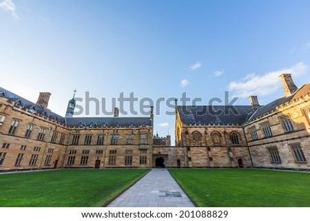 SYDNEY, NSW, AUSTRALIA - May 30, 2014: Historic Quadrant Building at Sydney University, Australia. Five Nobel or Crafoord laureates have been affiliated with the university as graduates and faculty.  - stock photo