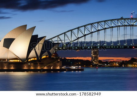 Sydney, NSW - July 29: The sun sets over Sydney Harbour in Sydney, Australia on 29th July 2012. - stock photo