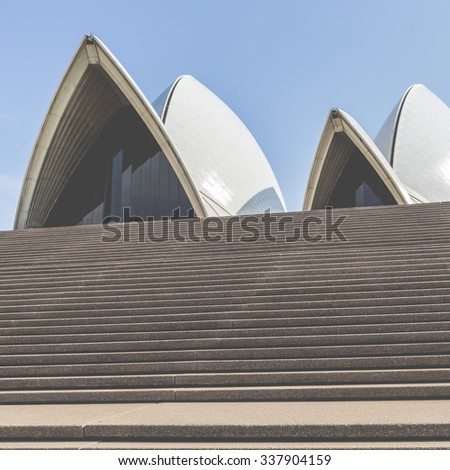 SYDNEY - OCTOBER 25: Sydney Opera House view on October 25, 2015 in Sydney, Australia. The Sydney Opera House is a famous arts center. It was designed by Danish architect Jorn Utzon.