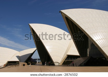 Sydney Opera House close up view roof and front entrance