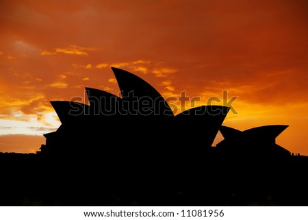 Sydney Opera House Silhouette - stock photo