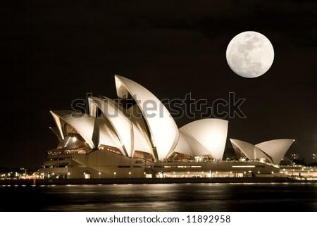 Sydney Opera House with moon - stock photo