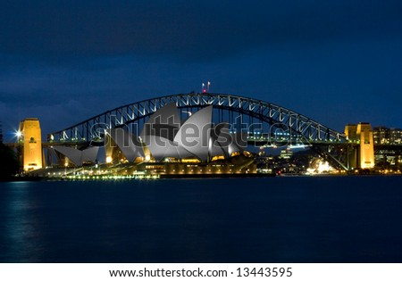 Sydney Opera House with the Harbour bridge in the background - stock photo