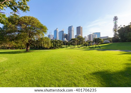 Sydney's Hyde Park and distant buildings