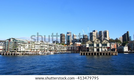 Sydney Skyline aerial view of Pier