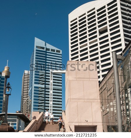 Sydney skyline and tall skyscrapers on a beautiful day. View from street level. - stock photo