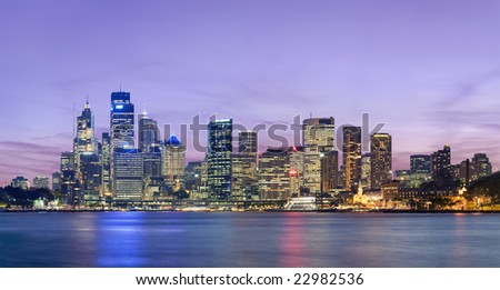 Sydney skyline at dusk - stock photo