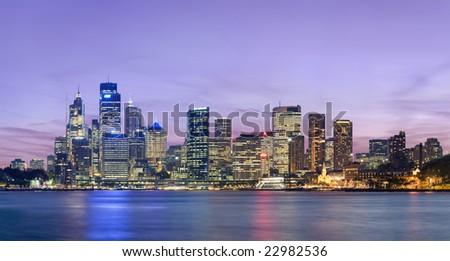 Sydney skyline at dusk - stock photo