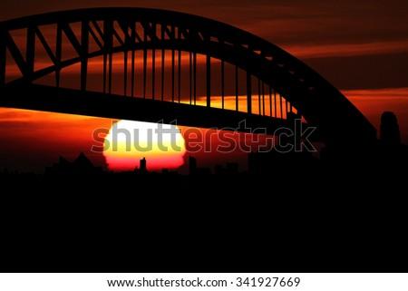 Sydney skyline at sunset illustration - stock photo