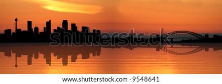 Sydney skyline at sunset with beautiful sky illustration - stock photo