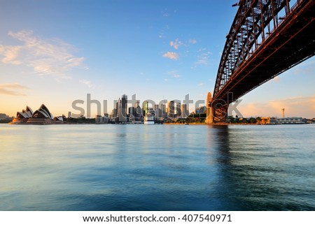 Sydney skyline during sunrise from Milsons point in Sydney, Australia. - stock photo