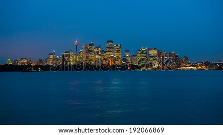 Sydney skyline in the evening after sunset - stock photo